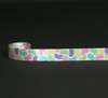"""Jelly beans in pastel colors on 5/8"""" white single face satin ribbon, 10 yards."""