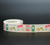 "New Home Word Block Ribbon on 7/8"" Antique White Single Face Satin, 10 Yards"