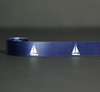 """Sailboats in white on a navy background on 7/8"""" White Single Face Satin Ribbon, 10 Yards"""