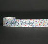 """Happy Birthday with primary colored sprinkles on 7/8"""" White single face satin ribbon, 10 Yards"""