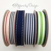 "Stripes  Ribbon of Navy blue, Lime green and White Woven7/8"" Grosgrain, 10 Yards"