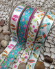 """Flamingo and floral Ribbon, blue background on 7/8"""" White single face satin, 10 Yards"""