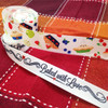 "Pie Ribbon, tossed  with fruits and berries on 7/8"" white single face satin, 10 Yards"
