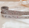 """Elegant wedding scroll ribbon, toffee with pink hearts on 7/8"""" Iced Coffee Double Face Satin, 10 yards"""