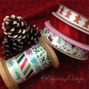 "Christmas Candies Ribbon in red and green on 5/8"" White Single Face Satin, 10 Yards"