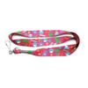 A fun lanyard featuring baking elements tossed on a bright pink background. A great way to keep keys visible while celebrating your love of baking!