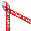 """Christmas Cookies in white on a red background with sweet little cut out hearts on 5/8"""" white single face satin ribbon in 10 yard spools."""