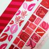 "Valentine Ribbon, primitive design hearts on 5/8"" light pink single face satin, 10 Yards"