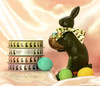 "Happy Easter Chocolate Bunny Ribbon on 5/8"" white single face satin , 10 Yards"