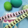 Chocolate bunnies come in three different colors and this special ribbon also wishes the gift recipient a Happy Easter!