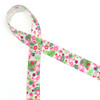 "Floral  Ribbon, pink and green on 5/8"" white single face satin, 10 yards"