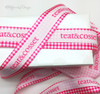 """Mixing a stock design with a simple logo will really make an image memorable! This 7/8"""" custom ribbon is mixed with our 1.5"""" hot pink gingham to make for a beautiful package!"""