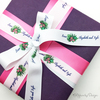 This beautifully designed custom ribbon makes a gorgeous tie for wedding favors!
