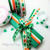 "Tossed Shamrocks Ribbon on 5/8"" white single face satin, 10 Yards"