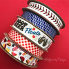 "Baseball Stitch Ribbon in red on 5/8"" white single face satin, 10 Yards"