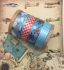"""Airplane Ribbon in red on a blue background with clouds on white 5/8"""" single face satin ribbon, 10 Yards"""