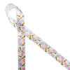 """Bunny paw prints and carrots with blue and pink polka dots printed on 5/8"""" white single face satin ribbon will make the cutest tie ever on your Spring and Easter treats, favors and gifts! Designed and printed in the USA"""
