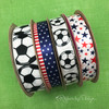 Our soccer ribbon comes in two widths and fabrics! Mix and match with our all American ribbons to round out the party!