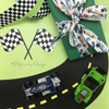 """Vintage Race Car Ribbon with a striped background on 5/8"""" white single face satin, 10 Yards"""