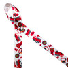 """Fire themed ribbon features fire trucks, fire hydrants, fire helmets and badges tossed on 5/8"""" white single face satin ribbon. This is a perfect favor tie for birthday party or to celebrate your favorite fire fighter!"""