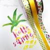 """Pineapple Ribbon, Yellow and Green on 5/8"""" white single face satin, 10 Yards"""