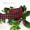"Buffalo Plaid ribbon in black and red on 5/8"" red single face satin, 10 Yards"