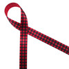 "Red and black buffalo plaid is printed on 5/8"" red  single face satin ribbon. This traditional plaid makes a country Christmas theme complete."