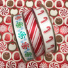 "Candy Cane Stripe ribbon in red printed on 5/8"" white single face satin, 10 Yards"