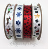 "Paw prints and Snowflakes ribbon printed in blue on 5/8"" white single face satin, 10 Yards"