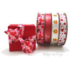 "Valentine hearts tossed on  5/8""white single face satin ribbon, 10 Yards"