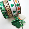 "St. Patricks Day Irish Argyle Ribbon on 5/8"" white single face satin, 10 Yards"
