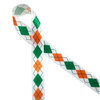 """Argyle in orange, green and white on 5/8"""" white single face satin is a fun pattern to add to the St. Patrick's Day celebrations! Designed and printed in the USA"""
