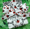 "Ladybugs Ribbon on 5/8"" white single face satin, 10 Yards"
