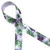 """Grapes and grape leaves printed on 7/8"""" Lt. Orchid ribbon is perfect for any harvest or wine themed gifts!"""
