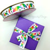 Our magical rainbow Narwals ribbon looks oh so pretty on a bold primary purple box!