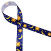 "The Sun, Moon and Stars on a midnight blue background printed on 5/8"" white single face satin ribbon is a beautiful ribbon for the most thoughtful of friends."