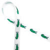 """Green alligators  line up along our  5/8"""" white single face satin ribbon to make a fun statement at your next preppy party! We added a blue outline to make these little gators a real standout!"""