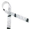 "Mummy themed ribbon on 5/8"" white single face satin  with lots of white wrapping and two green eyes peering out from the dark is a fun addition to any Halloween party!"