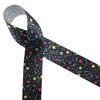 Confetti and stars of purple, red, green, yellow and blue are tossed on a black background to make a fun ribbon for birthdays, hair bows and party decor!