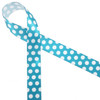 "White polka dots on a Teal background printed on 7/8"" white single face satin, 10 Yards"