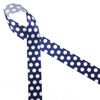 "White polka dots on a navy blue background printed on 7/8"" white single face satin is a classic!"