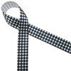 "Black and white buffalo plaid printed on 7/8"" white single face satin is a great ribbon staple for all your Holiday, party and year round events!"