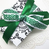 We always love mixing patterns! Our Celtic knot mixed with a solid green on a black and white damask paper is oh so pretty!