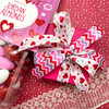 """Valentine Chevron in pink, red and lavender on 5/8"""" white single face satin, 10 Yards"""