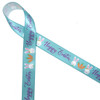 """Happy Easter on an aqua background with bunny faces and carrots printed on 5/8"""" white single face satin will be so pretty on your Easter treats!"""