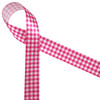 "Hot pink gingham check on 7/8"" white single face satin make for a beautiful staple in your ribbon collection! Be sure to have some on hand for Spring, Summer and any fun hot pink event!"
