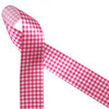 "Hot pink gingham check on 1.5"" white single face satin make for a beautiful staple in your ribbon collection! Be sure to have some on hand for Spring, Summer and any fun hot pink event!"