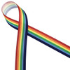 "Horizontal Rainbow stripes on 7/8"" white grosgrain is an idea ribbon for events and crafting!"