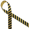 "Black stripes on 5/8"" dijon gold single face satin make a bold formal statement on any special gift or favor!"