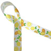 "Lemons in yellow and orange whole and sliced with green leaves are such a fun and happy addition  to any party! Ours is printed on 7/8"" white single face satin ribbon."